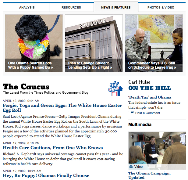 The New York Times Politics and Government page
