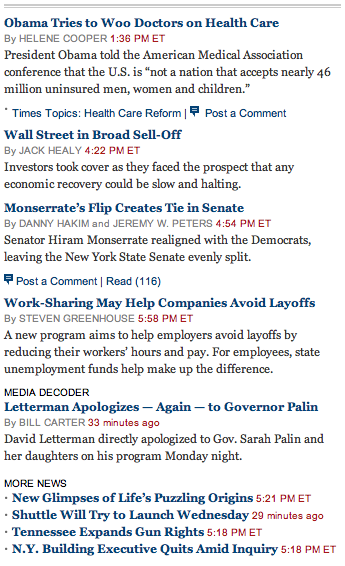 A portion of the NY Times homepage. This is worthless.